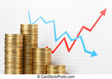 Pile of coins and graph Asset management - Pile of 500 yen...