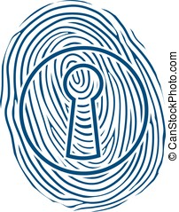 Fingerprint and a lock - Vector illustration of a human...