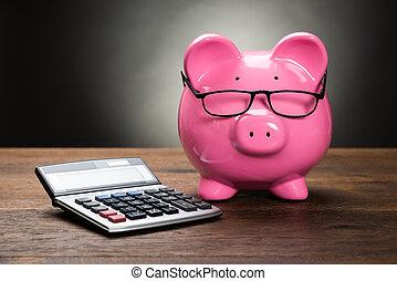 Piggybank With Calculator - Pink Piggybank With Calculator...