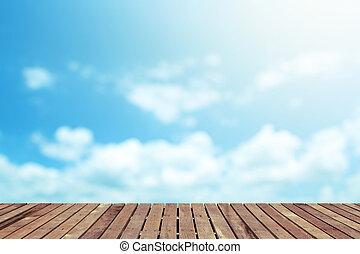 Beautiful cloud with wooden floor