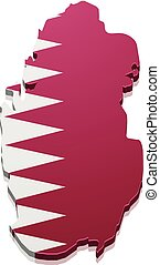 Map Qatar - detailed illustration of a map of Qatar with...