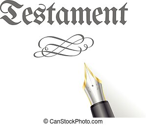 Testament Pen - illustration of a Testament Letter with...