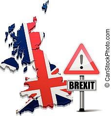 Great Britain Brexit - detailed illustration of a 3D Map of...