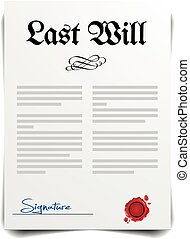Last Will - detailed illustration of a Last Will Letter,...