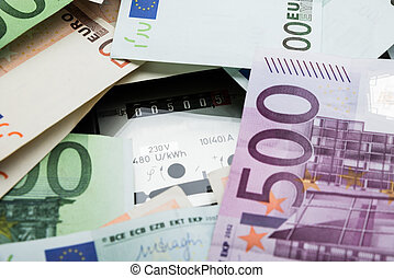 Euro Banknotes Over Electricity Meter - Close-up Of A Euro...