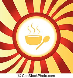 Hot soup abstract icon - Yellow icon with bowl of hot soup,...