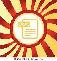 DOC file abstract icon - Yellow icon with page and text DOC,...