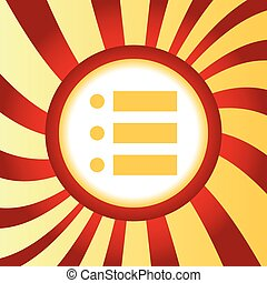 Dotted list abstract icon - Yellow icon with image of dotted...