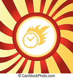 Burning clock abstract icon - Yellow icon with image of...