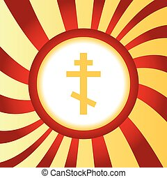 Orthodox cross abstract icon - Yellow icon with image of...