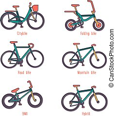 Set of illustrations different types bicycles - Set of...