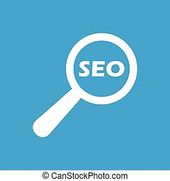 SEO search icon - Icon with text SEO under loupe, isolated...