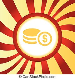 Dollar rouleau abstract icon - Yellow icon with image of...