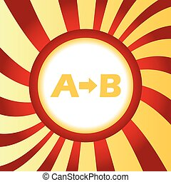 A to B abstract icon - Yellow icon with letters A, B and...
