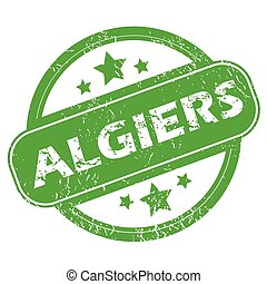 Algiers green stamp - Round green rubber stamp with name...