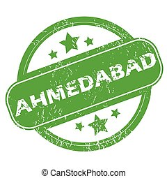 Ahmedabad green stamp - Round green rubber stamp with name...