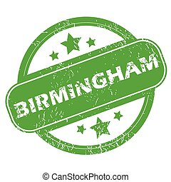 Birmingham green stamp - Round green rubber stamp with name...