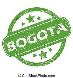 Bogota green stamp - Round green rubber stamp with name...