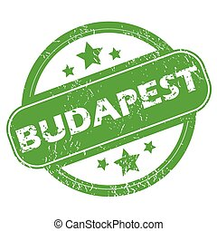 Budapest green stamp - Round green rubber stamp with name...