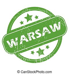 Warsaw green stamp - Round green rubber stamp with name...