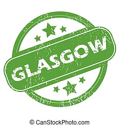 Glasgow green stamp - Round green rubber stamp with name...