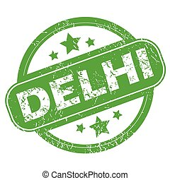 Delhi green stamp - Round green rubber stamp with name Delhi...