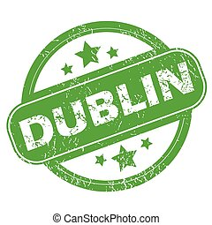 Dublin green stamp - Round green rubber stamp with name...