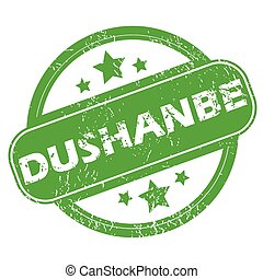 Dushanbe green stamp - Round green rubber stamp with name...