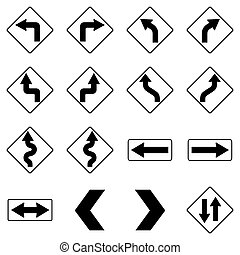 Set of black road traffic signs. Vector