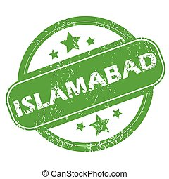 Islamabad green stamp - Round green rubber stamp with name...