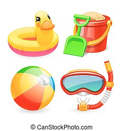 Colorful Beach Toys Icons Set for Your Sea and Child...