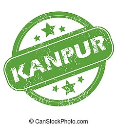 Kanpur green stamp - Round green rubber stamp with name...