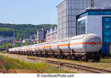 Fuel Train - The many of tanks with oil and fuel transport...