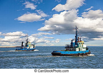 Tugboats - Two Tugs Heading out to Sea in Gdynia, Poland