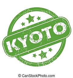 Kyoto green stamp - Round green rubber stamp with name Kyoto...