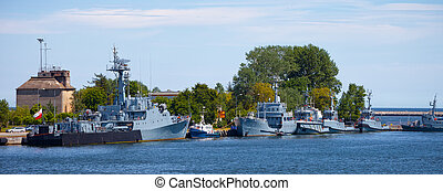 Warships - Navy warships moored at the wharf in the port of...
