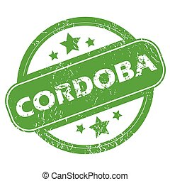 Cordoba green stamp - Round green rubber stamp with name...