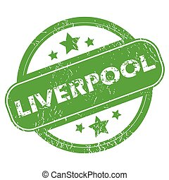 Liverpool green stamp - Round green rubber stamp with name...