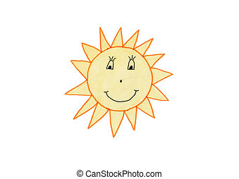 Child drawing of the smiling sun, isolated on white