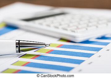 dati, Calcolatore, finanziario, penna, foglio