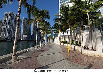 Promenade in Downtown Miami, Florida USA