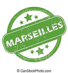 Marseilles green stamp - Round green rubber stamp with name...