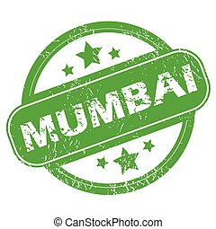 Mumbai green stamp - Round green rubber stamp with name...