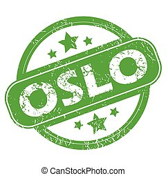 Oslo green stamp - Round green rubber stamp with name Oslo...