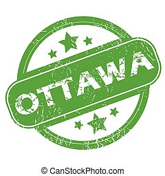 Ottawa green stamp - Round green rubber stamp with name...
