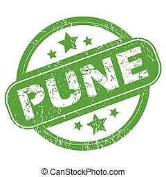 Pune green stamp - Round green rubber stamp with name Pune...