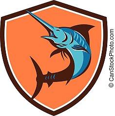 Blue Marlin Fish Jumping Shield Retro