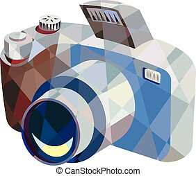 Camera DSLR Low Polygon - Low polygon style illustration of...