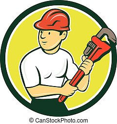 Plumber Holding Monkey Wrench Circle Cartoon - Illustration...