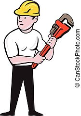 Plumber Holding Monkey Wrench Cartoon - Illustration of a...